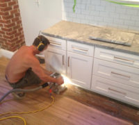 Radiator edger refinishing kitchen Quarter Sawn White Oak wood floors