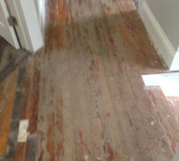 Solid Heart Pine wood floors in a home in historic Springfield prior to refinishing