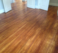 Old Solid Heart Pine wood floors in a home in Historic Springfield, after refinishing