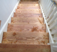 Stair treads need to be edged twice, scraped and palm sanded prior to coating