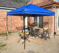 Temporary shop to prepare white oak wood planks