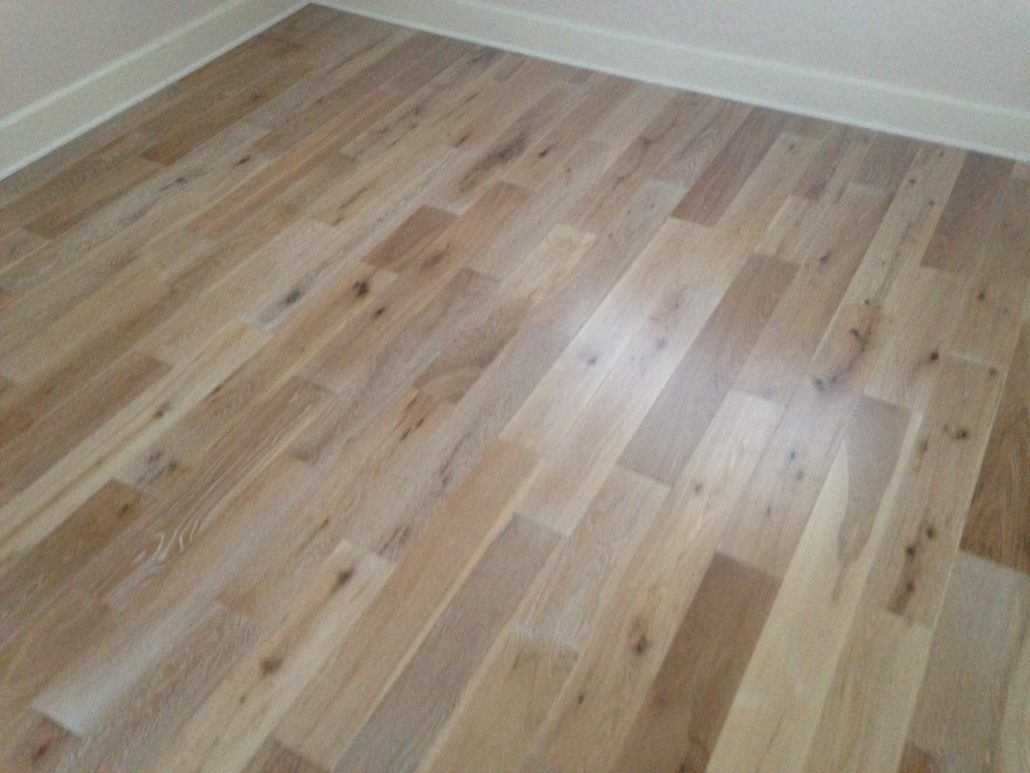 Engineered White Oak flooring with white stain in grain