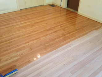 applying finish to old clear grade solid red oak flooring