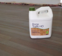 Bona Traffic HD finish (top coat) applied on custom stained and refinished White Oak wood floor