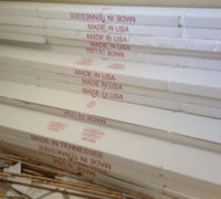 Boxes of Monticello Hearthstone engineered Hickory hardwood, wide planks; American Made wood flooring by Max Woods