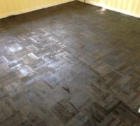 DIY refinished parquet wood floor