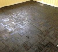 DIY refinished parquet wood floor