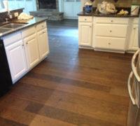 Engineered wide plank Hickory flooring installed