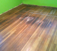 Old White Oak wood flooring needs refinishing
