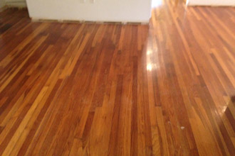 White Oak Wood Floor Refinished With A Custom Stain On