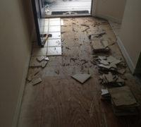 Removing the hallway floor tiles