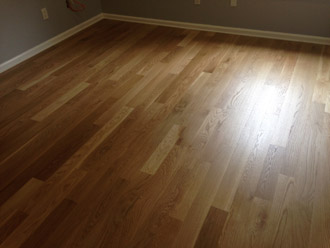 sanded and finished white oak wood flooring
