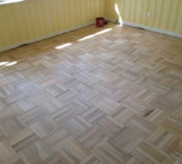 Re-sanded DIY refinished parquet wood