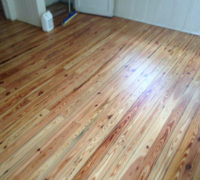 Solid Heart Pine wood floor after refinishing