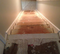 Stairway ready for installation of solid White Oak treads