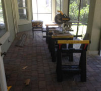 Temporary work shop set up on the back patio