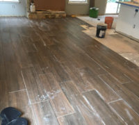 Wood look floor tile installation