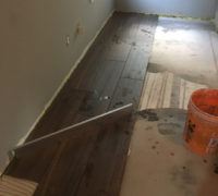 Wood look floor tile installation