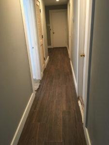 Wood look floor tile installed