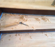 Hand scraping sanded stair treads - refinishing