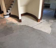 Leveled concrete slab subfloor