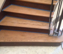 Preparing curved stairway treads for refinishing