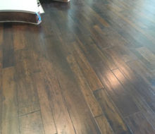 Variable width solid hickory wood flooring installed