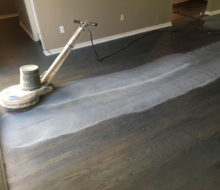 Buffing stained Red Oak flooring