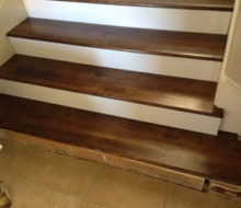 Fit check stained Birch stair treads