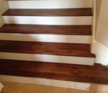 Fit check stained and finished Birch stair treads