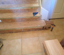 Fitting custom substep extension for new curved end bottom Birch stair tread