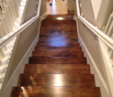 Looking Down The Staircase With New, Stained And Finished Birch Stair Treads  In Place