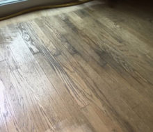 Moisture damaged area of existing Red Oak flooring - to be refinished
