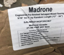 Pacific Madrone wood flooring shipping box label.