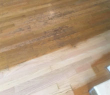 Sanding old moisture damaged Red Oak wood floors - before and after