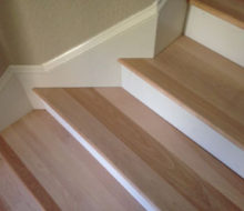 Tight fit of birch stair treads to skirt