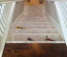 View of stair subtreads looking down the staircase.