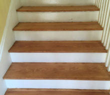 Old heart pine stair treads after refinishing