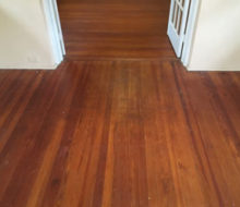Old heart pine wood flooring before refinishing