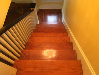 Old Heart Pine Wood Stair Treads And White Oak Wood Landing With Walnut  Strip Border,