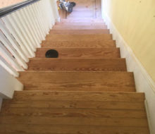 Sanded and hand scraped old heart pine stair treads
