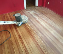 Sanding old heart pine wood flooring