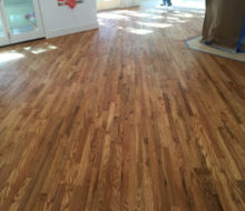 Stained and finished red oak wood flooring