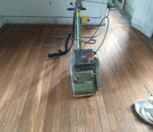 Old heart pine wood flooring after sanding