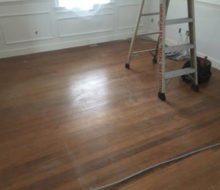 Old red oak wood flooring, prior to refinishing