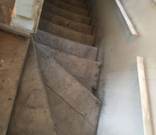 Old wooden stair treads before sanding