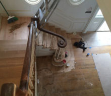 Sanding and hand scraping wood stair treads and landing