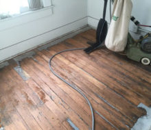 Sanding old heart pine wood flooring