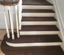 Stained and refinished stair treads
