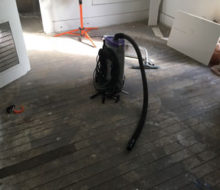Weave-in repair of old heart pine wood flooring